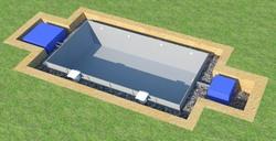 Засыпка щебнем пространства между панелями бассейна и котлованом