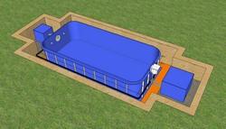 Установка чаши бассейна в монтажное пространство