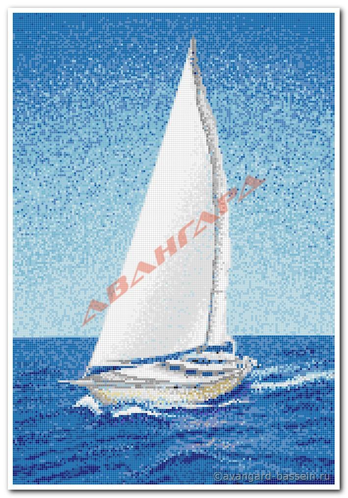 презентация составление мозаичного панно парусные лодки на реке